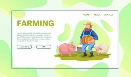 Farming flat vector illustrations set. Dairy and livestock farm workers. Agriculture, backyard gardening, autumn harvest concepts. Farmers, tractor driver cartoon characters isolated on white Stok Fotoğraf - 131734535