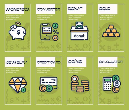 Finances management green color linear icons set. Banking service thin line contour symbols. Financial operations, digital wallet. Cash and cryptocurrency isolated vector outline illustrations