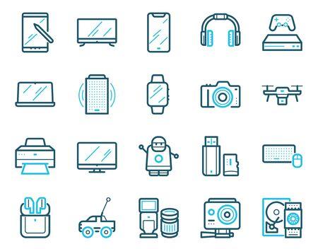 Modern gadgets color linear icons set Çizim