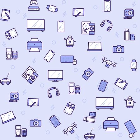 Modern gadgets color linear icons set Illustration