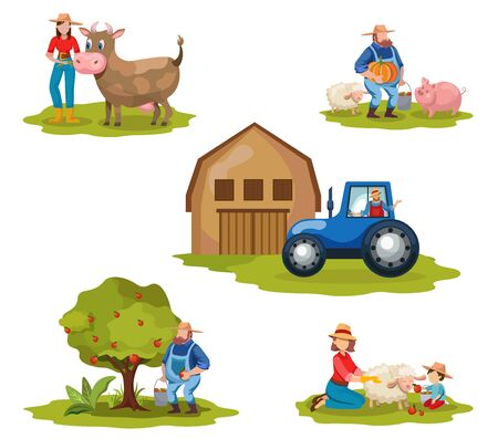 Farming flat vector illustrations set. Dairy and livestock farm workers. Agriculture, backyard gardening, autumn harvest concepts. Farmers, tractor driver cartoon characters isolated on white Çizim