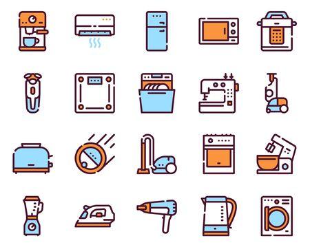 Household appliance linear icons set Çizim