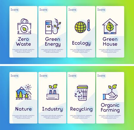 Nature conservation green color linear icons set. Environment protection thin line contour symbols. Alternative energy. Eco friendly transport and waste recycling isolated vector outline illustrations Banco de Imagens - 132060671