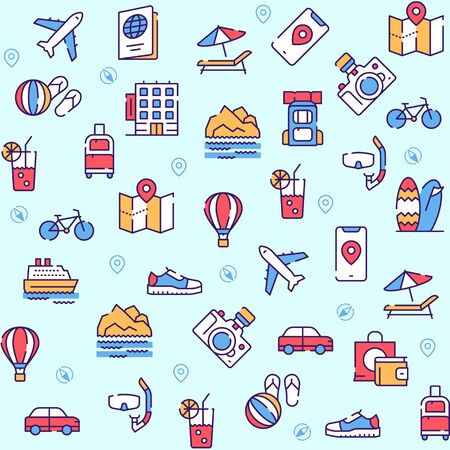 Travel linear vector icons set