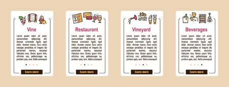 Wine making color linear icons set Illustration