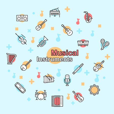 Musician equipment colorful linear icons set  イラスト・ベクター素材