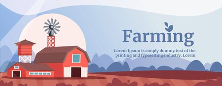 Farming flat vector banner template. Vintage barnhouse and livestock shed illustration. Arable lands cultivation. Agricultural industry, organic produce manufacturing company typography ..
