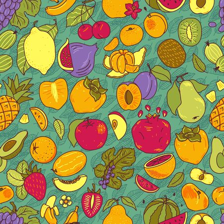 Fruits hand drawn vector illustrations set Ilustração