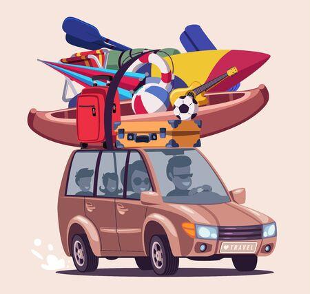 Summer vacation journey flat vector illustration Illustration