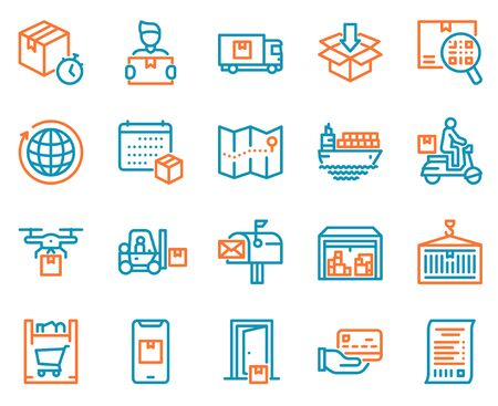 Worldwide post delivery linear icons set Stock Illustratie