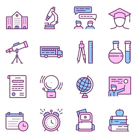 School color vector linear icons Ilustrace