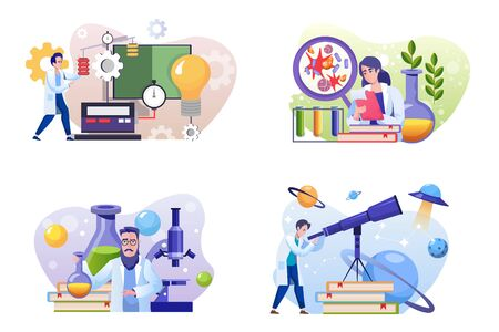 Scientific laboratory flat illustrations set. Male and female scientists cartoon characters. Physics, biology, chemistry, astronomy. Lab experiment, study, research on white background pack