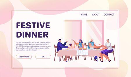 Family dinner flat banner vector template