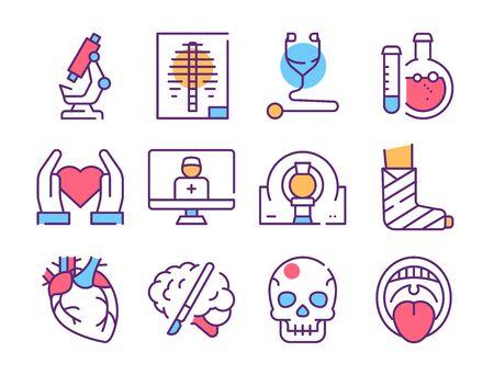 Disease diagnostics color linear icons set. Vector illustration