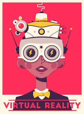 Virtuelle Spielerfahrung Retro-Poster-Vorlage. Mann mit VR-Headset