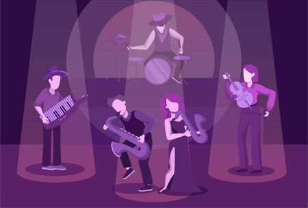 Instrumental ensemble performance flat illustration. Orchestra concert on music-hall stage. Male and female jazz band members faceless cartoon characters. Classical music evening concept Фото со стока - 133402493