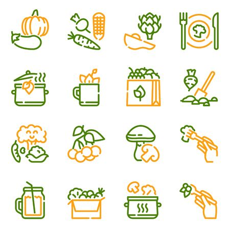 Vegetarian products color linear icons set