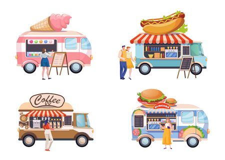 Food truck flat illustrations set