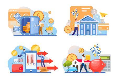 Money transactions flat illustrations set