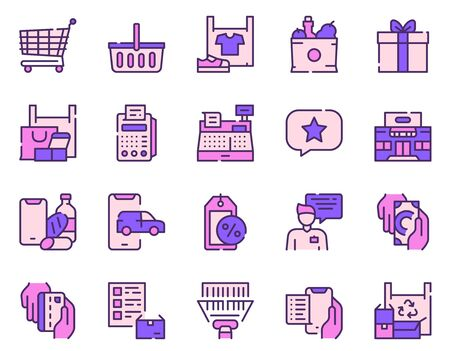 Shopping items color icons set Ilustracja