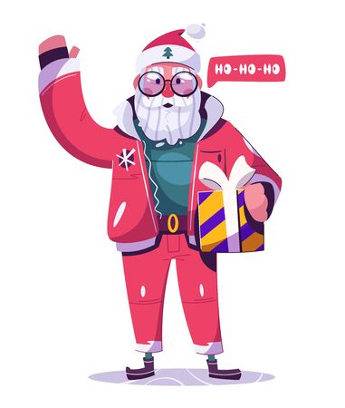 Santa Claus character. Cartoon vector illustration. Merry Christmas and Happy New Year. Modern Santa with gift box. Listening to music on headphones  イラスト・ベクター素材