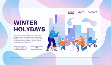 Winter holidays flat banner vector template. Happy mother, father and little kid cartoon characters. Young parents with child making snowman together. Outdoor family activity, wintertime recreation