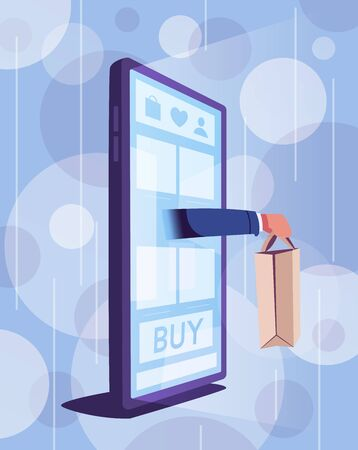 Online shopping. Big smartphone turned into internet shop. Cartoon vector illustration. Concept of mobile digital marketing and e-commerce. Supermarket in device. Awning above online store front door 일러스트