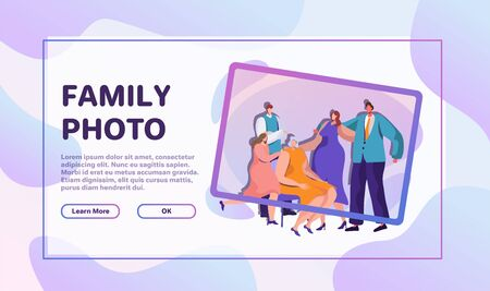 Family activities flat vector illustrations set. Children with parents and grandparents cartoon character. People spend time together. Group photo, snowman making, cycling, outdoor stroll and dinner  イラスト・ベクター素材