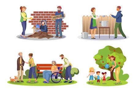 Volunteer help flat illustrations set. Social worker and needy people faceless cartoon characters. Charity, philanthropy, caregiving. Volunteering community, social service. Good deed concept