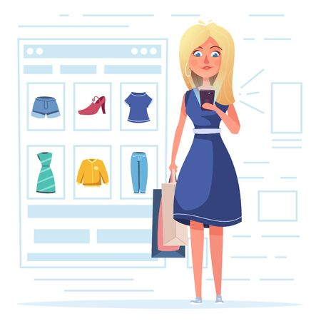 Online shopping. Beautiful girl character design. Cartoon vector illustration. Woman is buying clothes by smartphone 일러스트