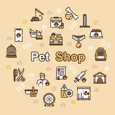 Pet service color linear icons set. Training and playing attributes. Grooming and medical service. Special dwelling and nutrition. Pet care, responsibility concept. Isolated vector illustrations