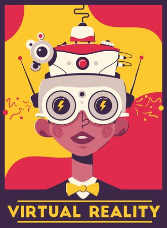 Virtual reality retro style poster template. Man wearing VR headset cartoon illustration. Stylized vintage gaming glasses with digital camera, antenna. Hi-tech gamers accessory banner design layout