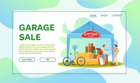 Garage sale flat illustrations set