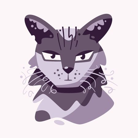 Cute cat face flat vector illustration Ilustracja