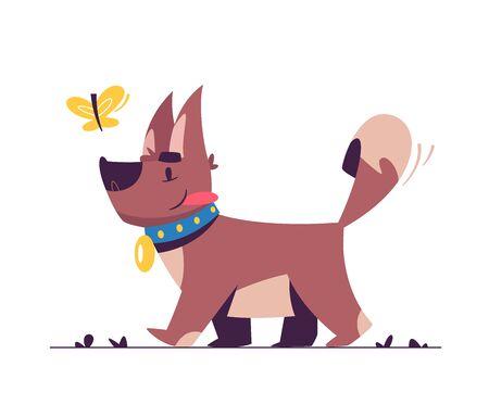 Flache Illustration des netten kleinen Hundes
