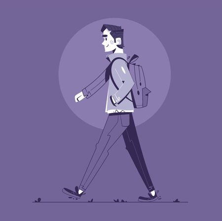 Walk in rainy day flat illustration