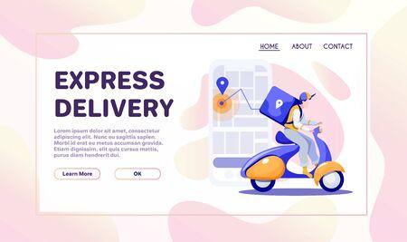 Post delivery flat illustrations set