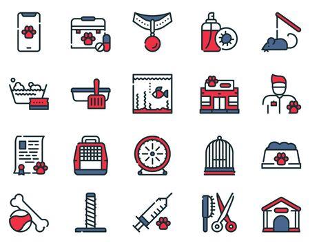 Pet service color linear icons set