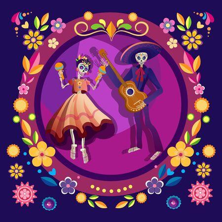 Dancing skeletons flat illustration