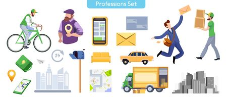 Commercial services flat illustrations set