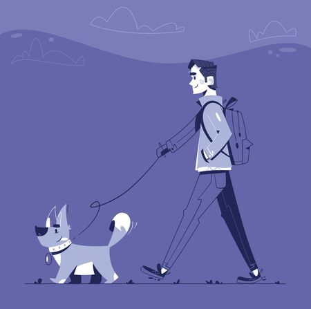 Man with dog flat illustration 向量圖像