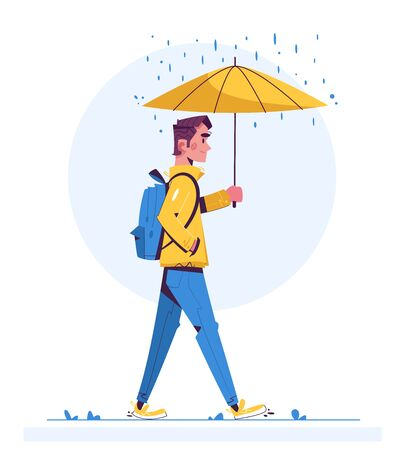 Walk in rainy day flat illustration