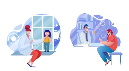 Healthcare services flat illustrations set 向量圖像
