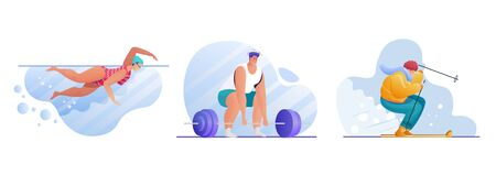 Sport activities flat illustrations set 向量圖像