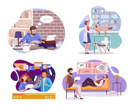 Employment and labor flat illustrations set 向量圖像
