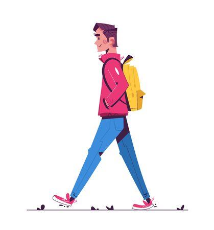 Walk in rainy day flat illustration 向量圖像