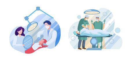 Medical services flat illustrations set