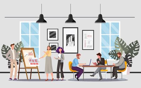 People in office flat illustrations