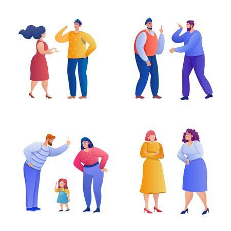 Arguing people flat illustrations set