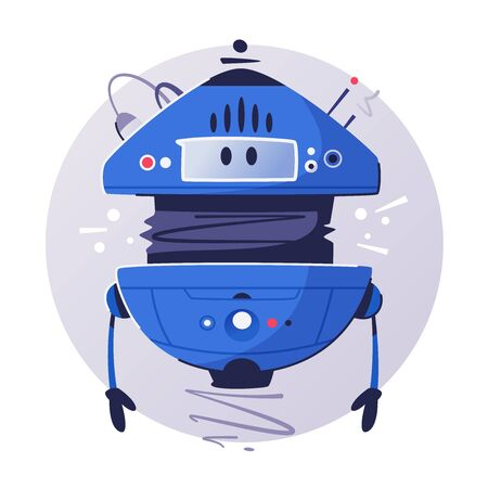 Modern drone assistant flat illustration. Cyberpunk design